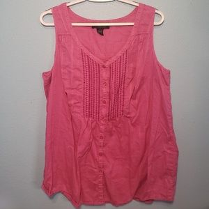 Lane Bryant Pink Buttoned Tank Top